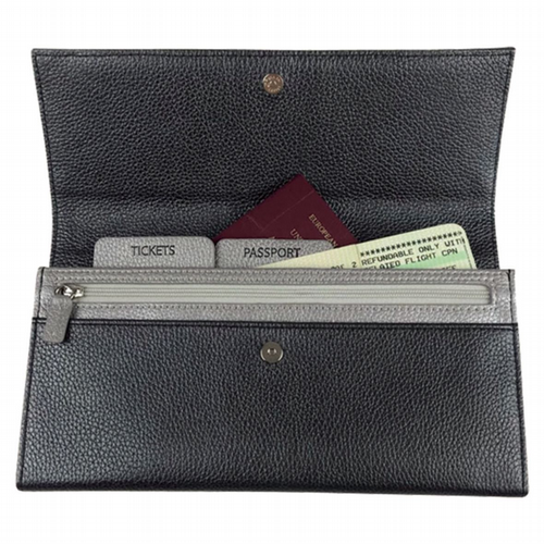Leather Travel Wallet - Gunmetal & Silver